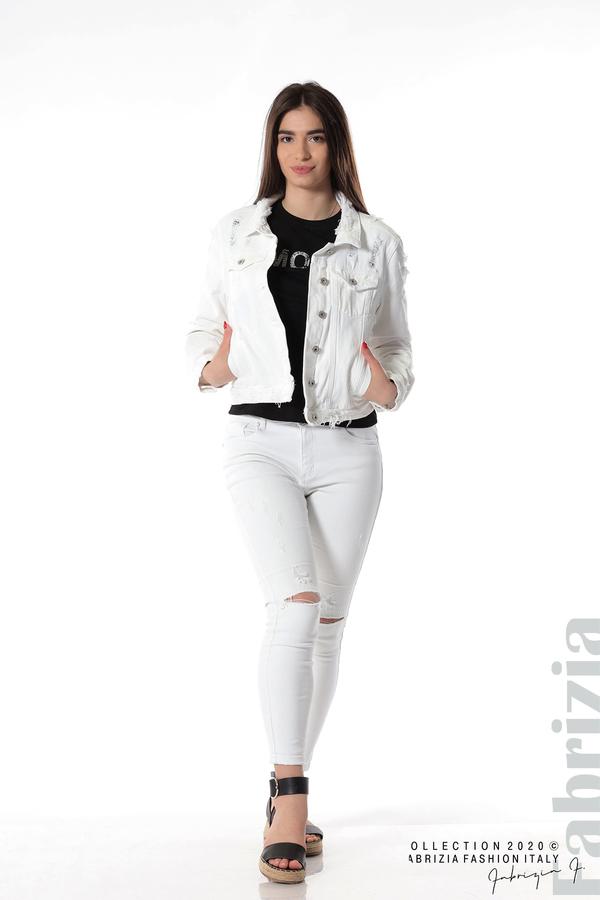 Късо дънково яке бял 1 fabrizia