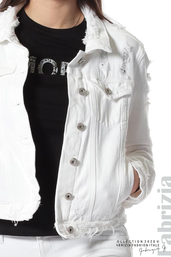 Късо дънково яке бял 3 fabrizia