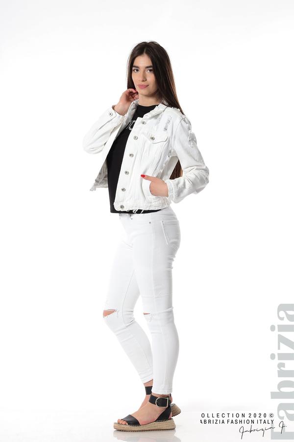 Късо дънково яке бял 4 fabrizia
