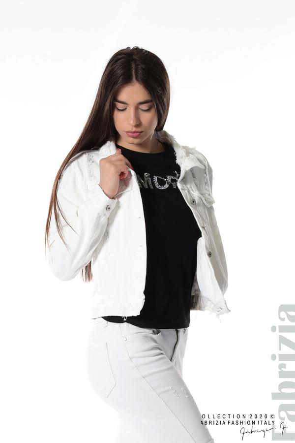 Късо дънково яке бял 5 fabrizia