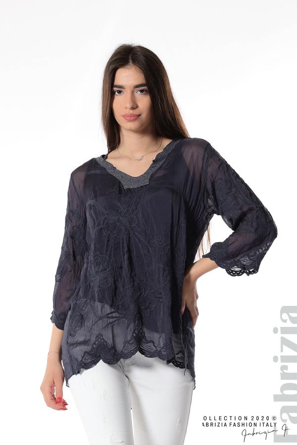 Блуза с ефектна предна част т.син 1 fabrizia