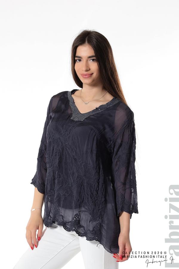 Блуза с ефектна предна част т.син 3 fabrizia