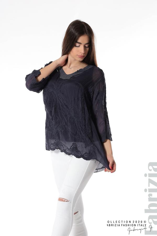 Блуза с ефектна предна част т.син 2 fabrizia