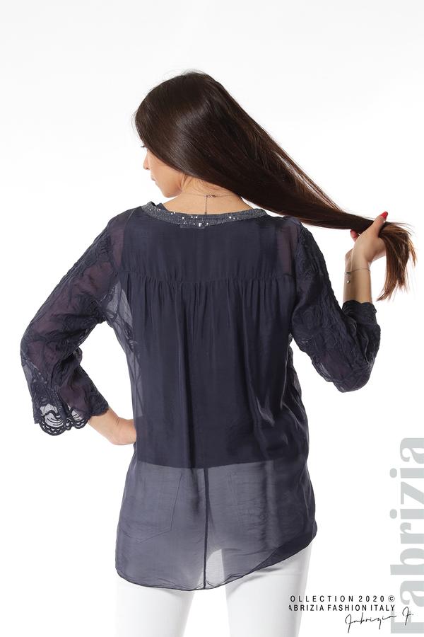 Блуза с ефектна предна част т.син 6 fabrizia