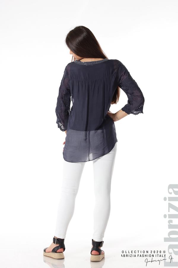 Блуза с ефектна предна част т.син 5 fabrizia