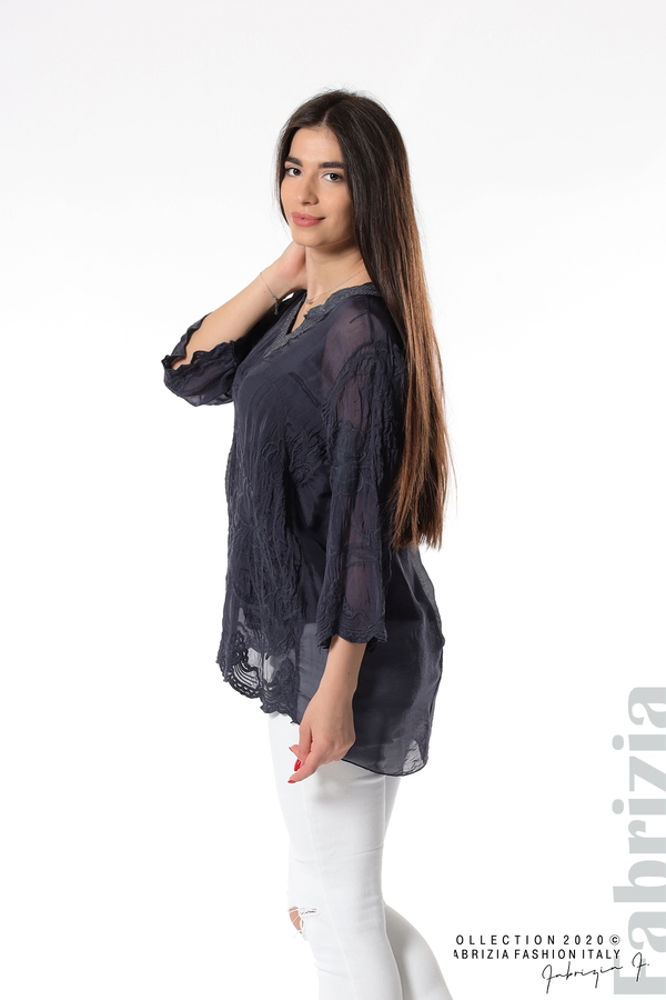 Блуза с ефектна предна част т.син 4 fabrizia
