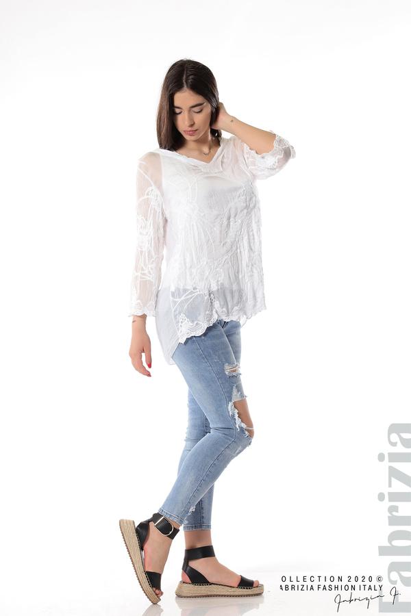 Блуза с ефектна предна част бял 4 fabrizia