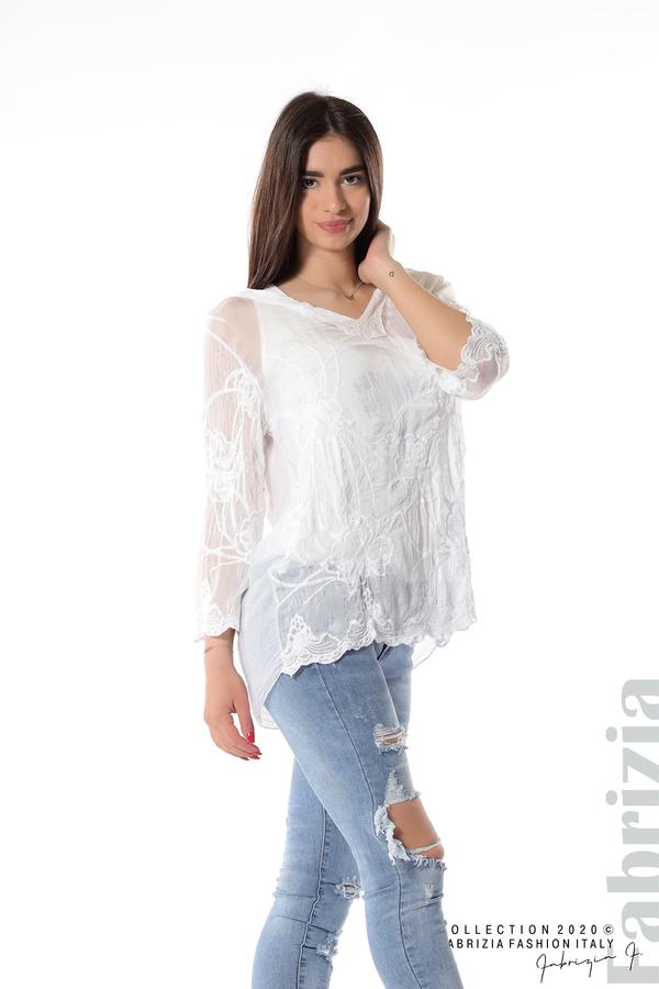 Блуза с ефектна предна част бял 2 fabrizia