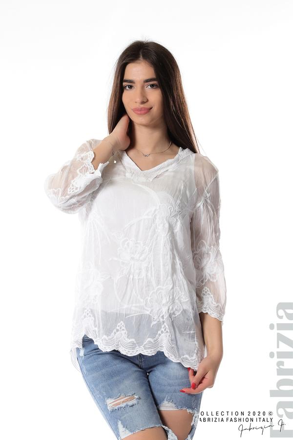 Блуза с ефектна предна част бял 1 fabrizia