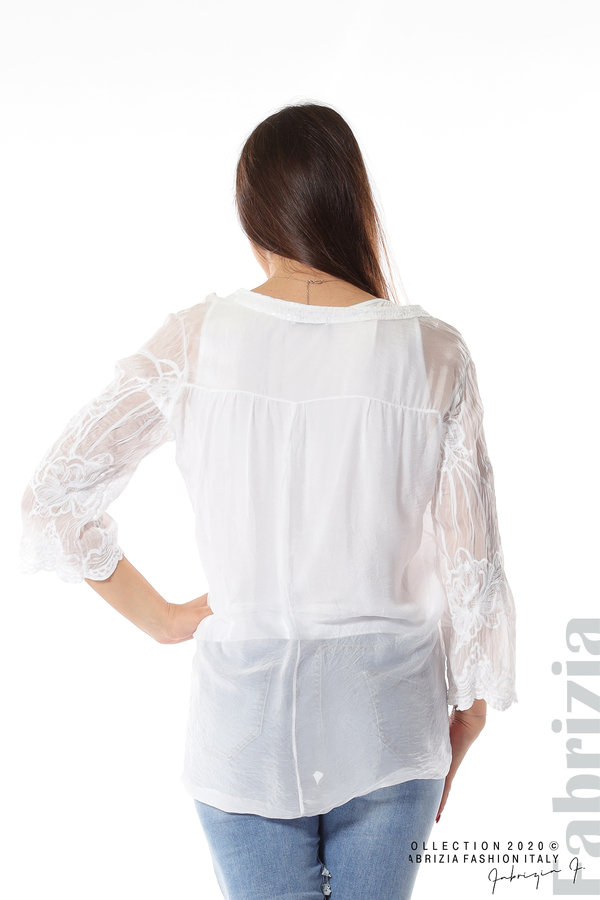 Блуза с ефектна предна част бял 6 fabrizia
