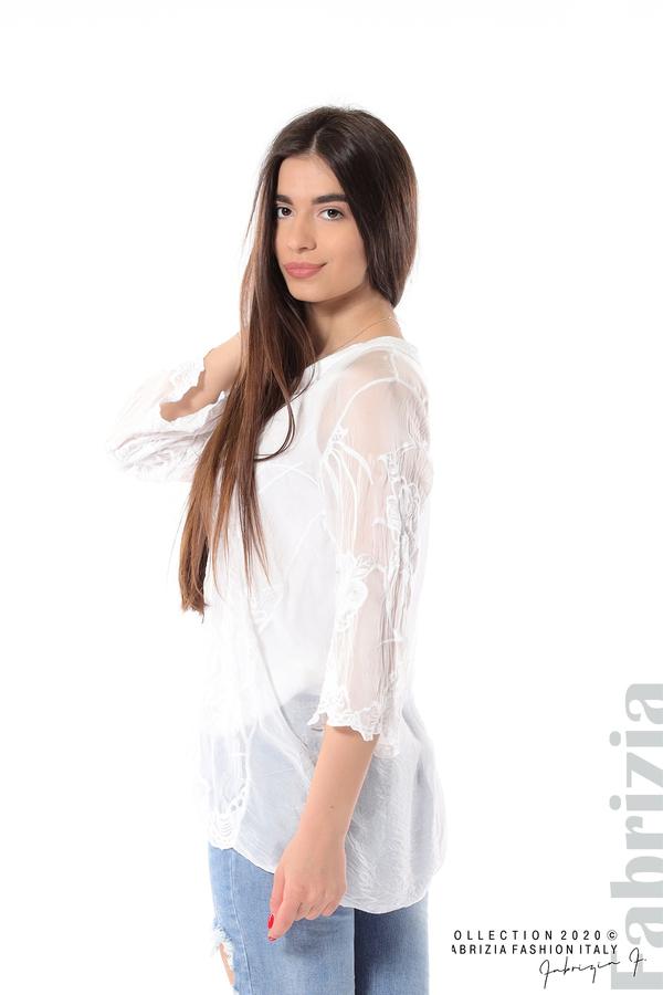Блуза с ефектна предна част бял 3 fabrizia