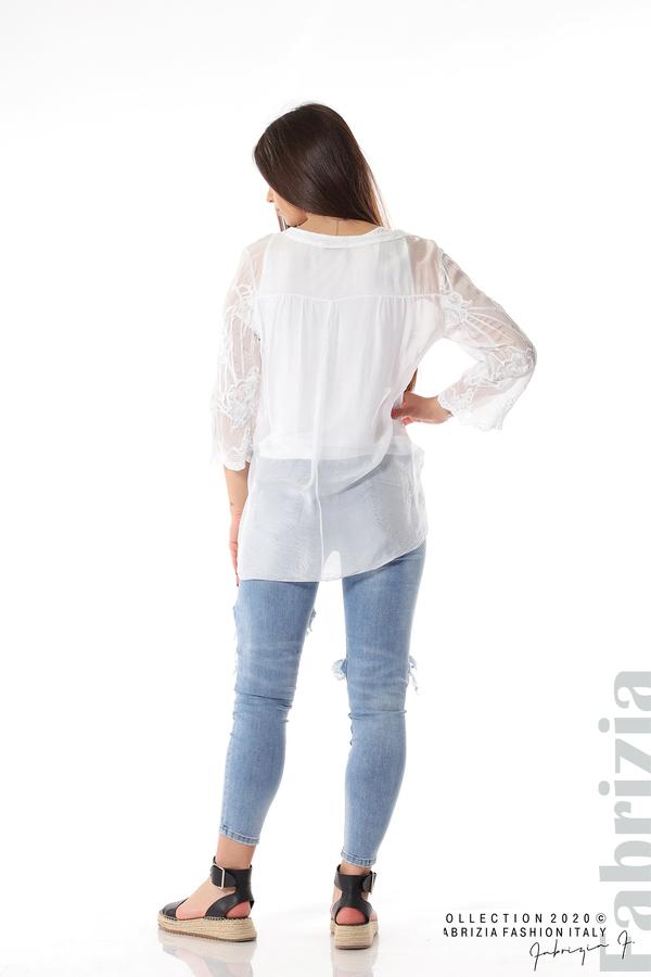 Блуза с ефектна предна част бял 5 fabrizia