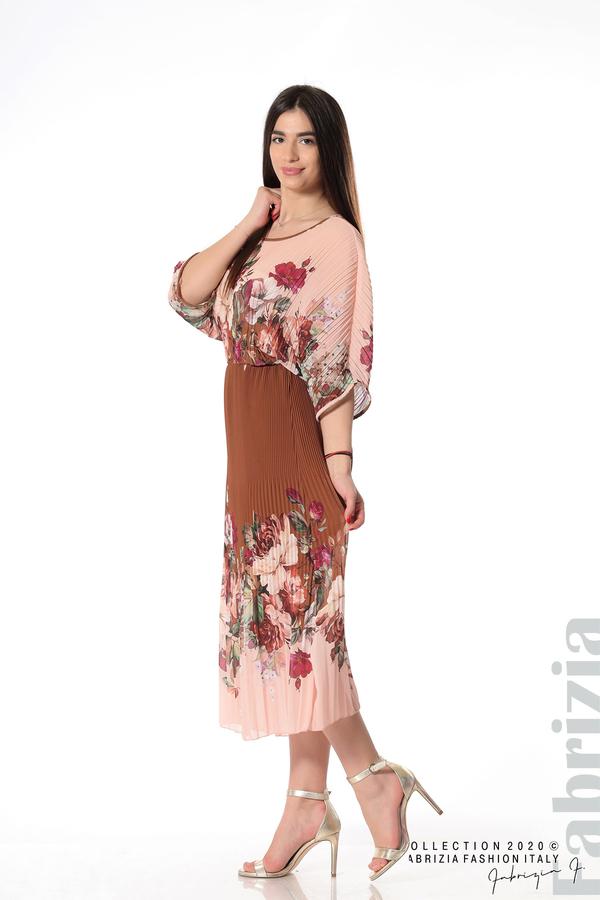 Дълга плисирана рокля с цветя кафяв 2 fabrizia