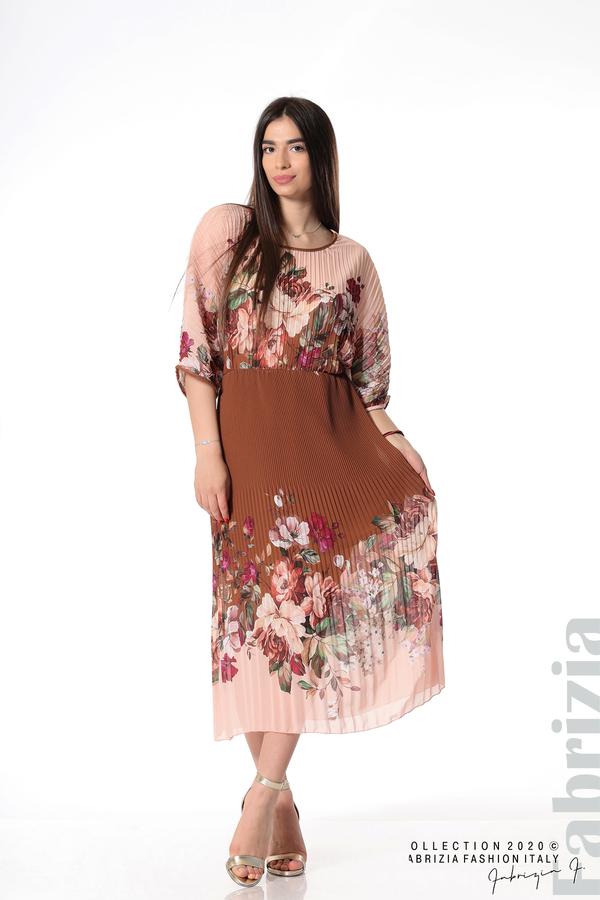 Дълга плисирана рокля с цветя кафяв 1 fabrizia