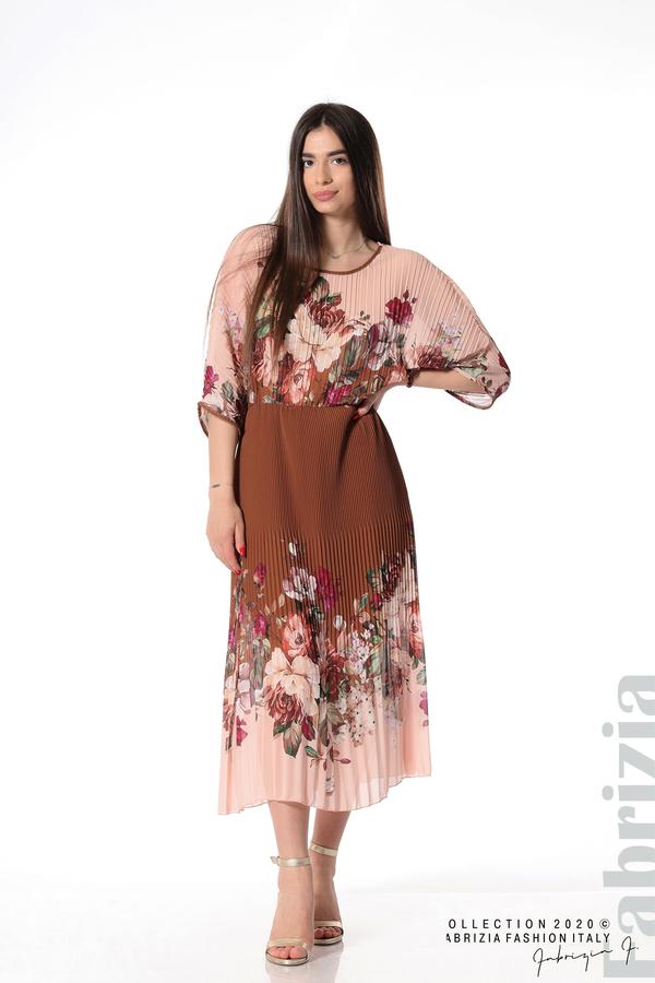 Дълга плисирана рокля с цветя кафяв 3 fabrizia