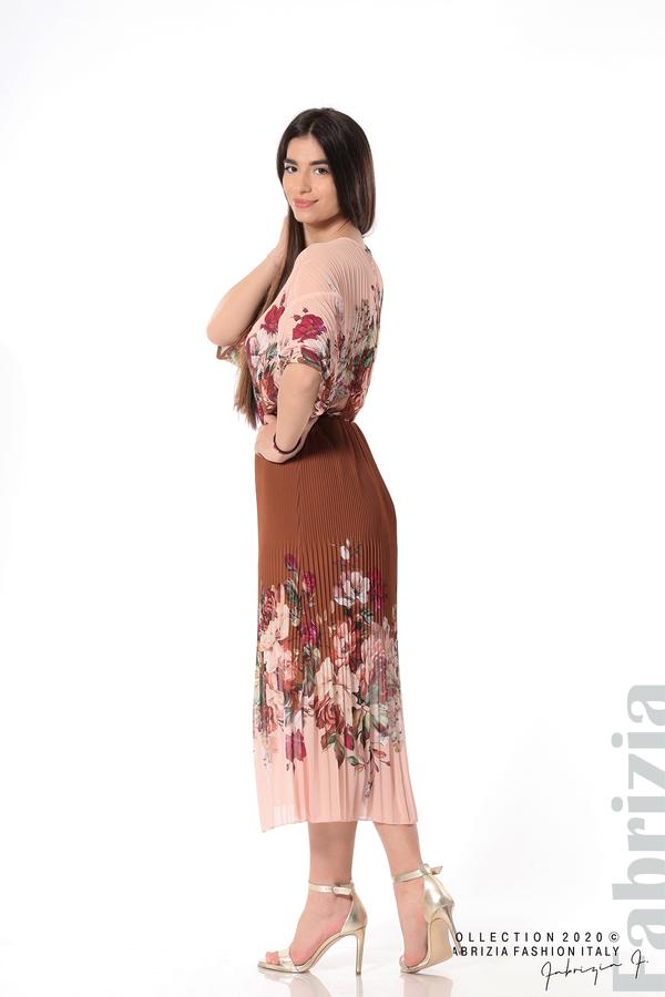 Дълга плисирана рокля с цветя кафяв 4 fabrizia