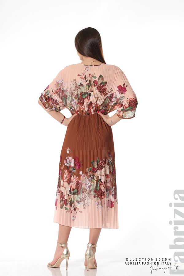 Дълга плисирана рокля с цветя кафяв 5 fabrizia