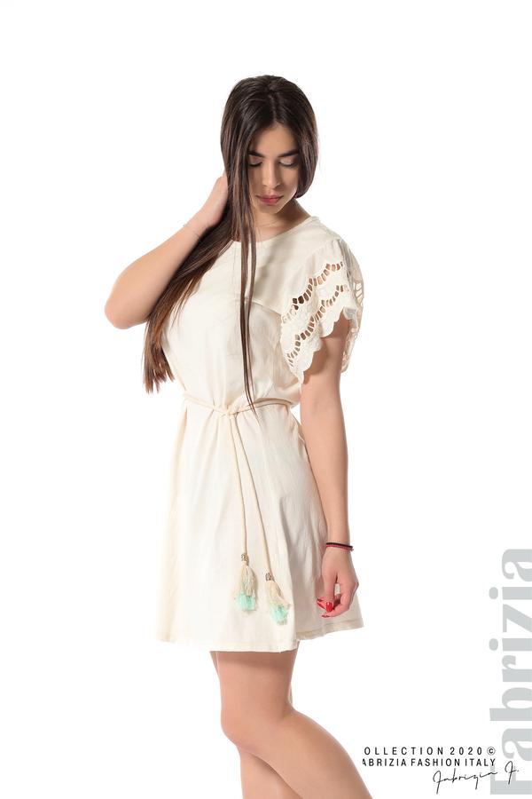 Къса рокля с колан и ефектни ръкави екрю 5 fabrizia