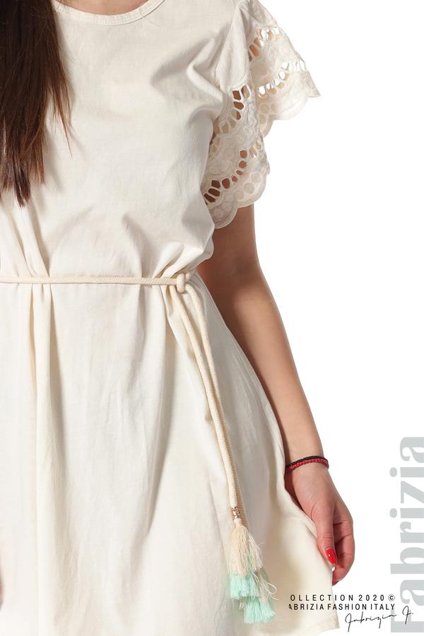 Къса рокля с колан и ефектни ръкави екрю 3 fabrizia