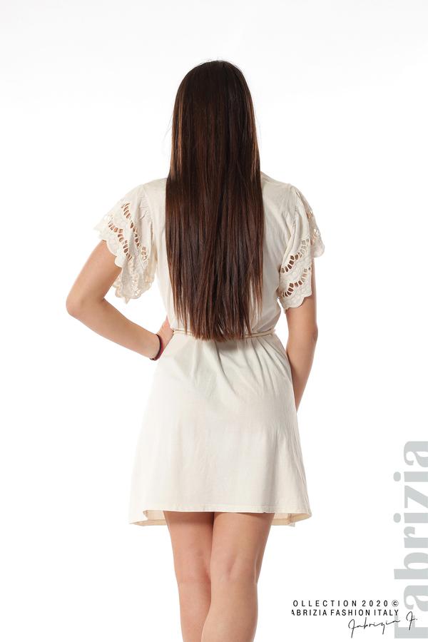 Къса рокля с колан и ефектни ръкави екрю 6 fabrizia