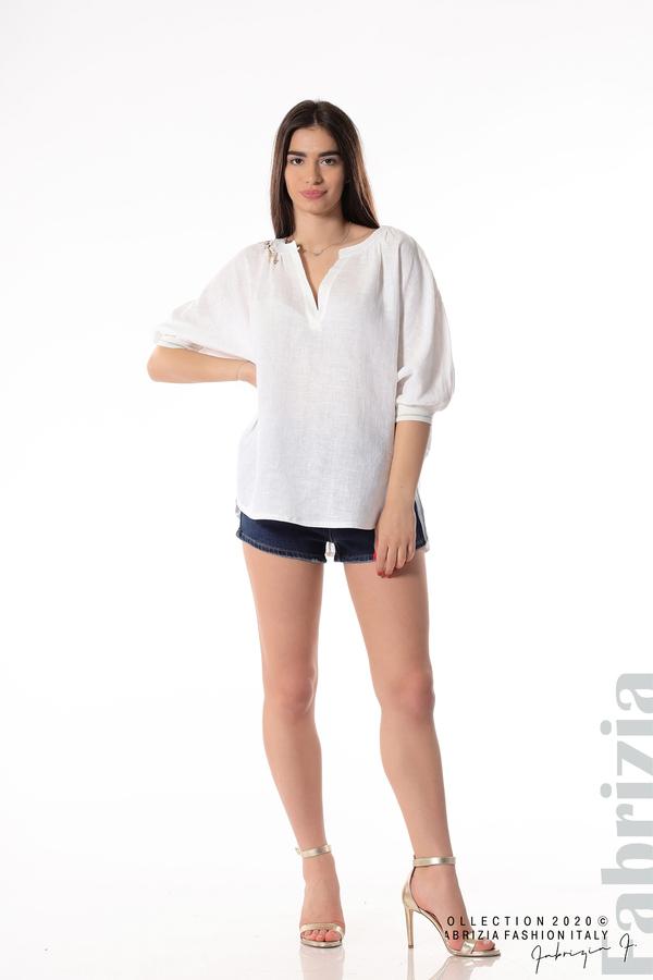 Бяла ленена блуза бял 3 fabrizia