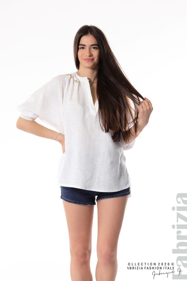 Бяла ленена блуза бял 2 fabrizia