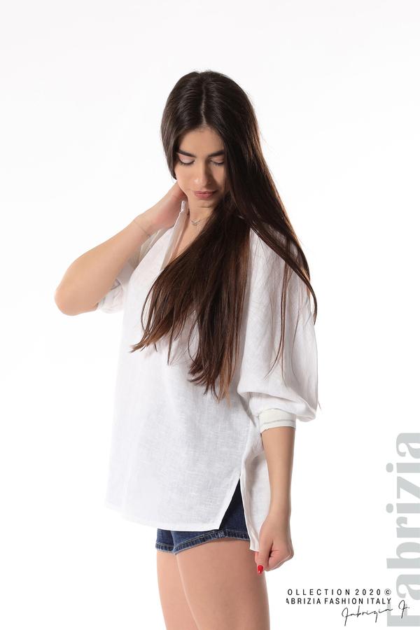 Бяла ленена блуза бял 4 fabrizia