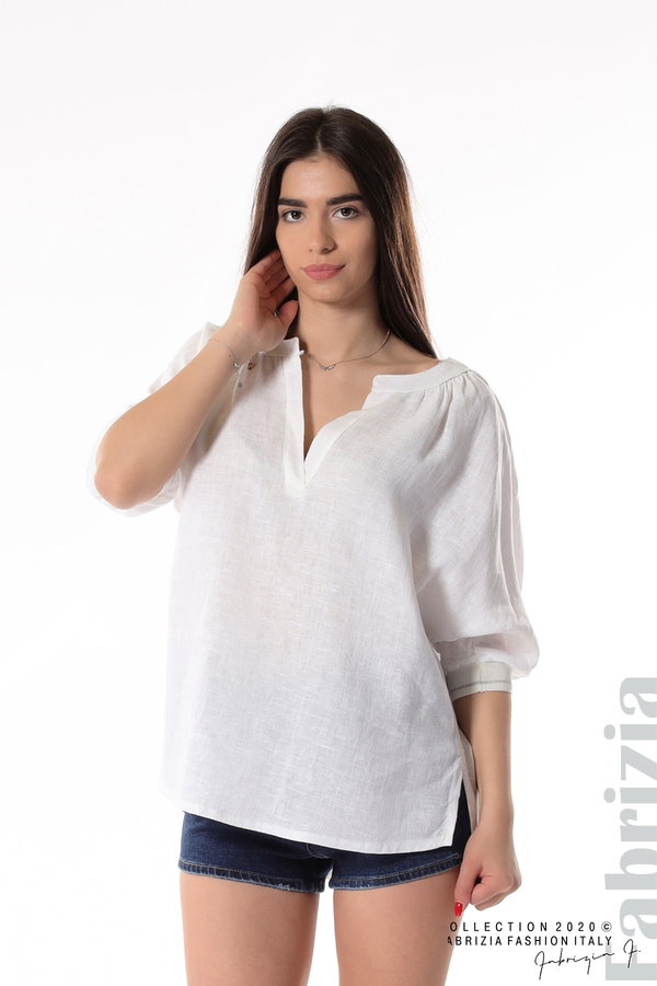 Бяла ленена блуза бял 1 fabrizia