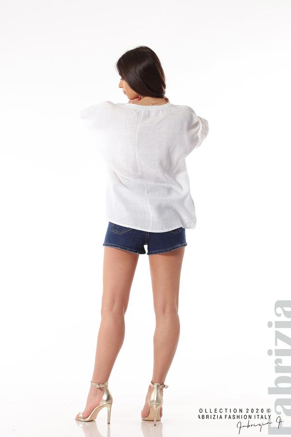 Бяла ленена блуза бял 5 fabrizia