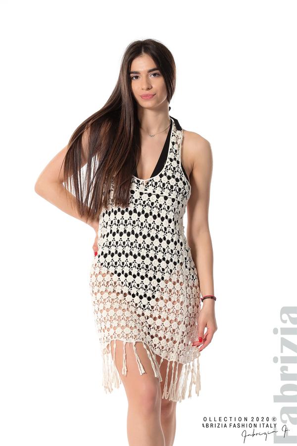 Плетена плажна рокля с ресни екрю 1 fabrizia