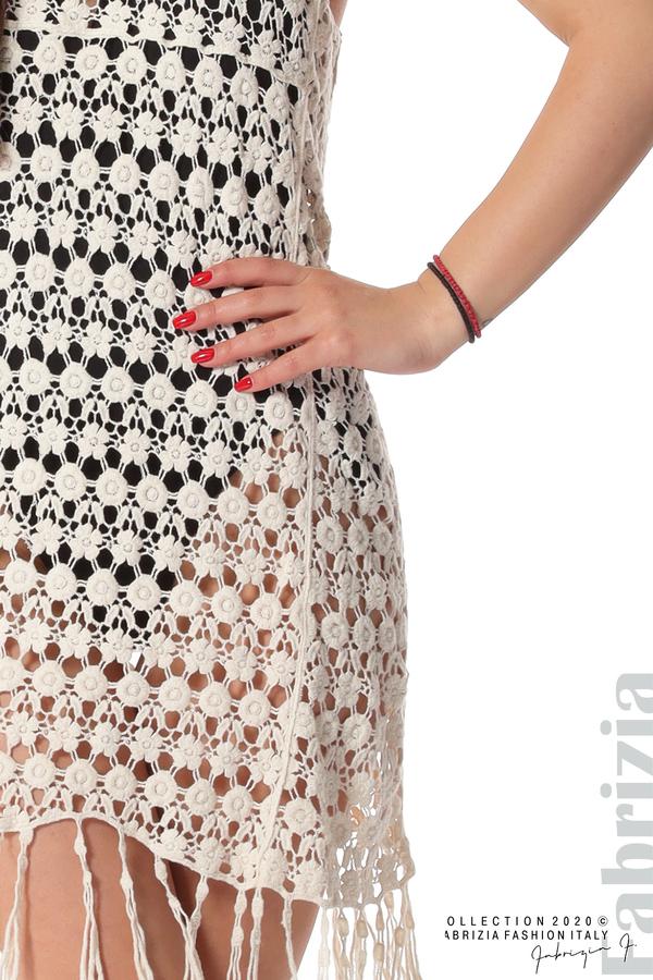 Плетена плажна рокля с ресни екрю 2 fabrizia