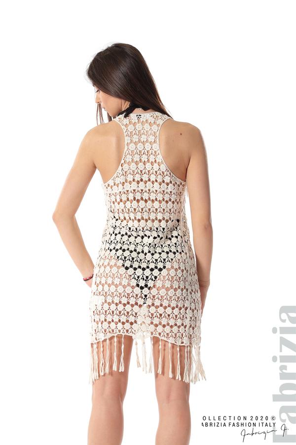Плетена плажна рокля с ресни екрю 5 fabrizia