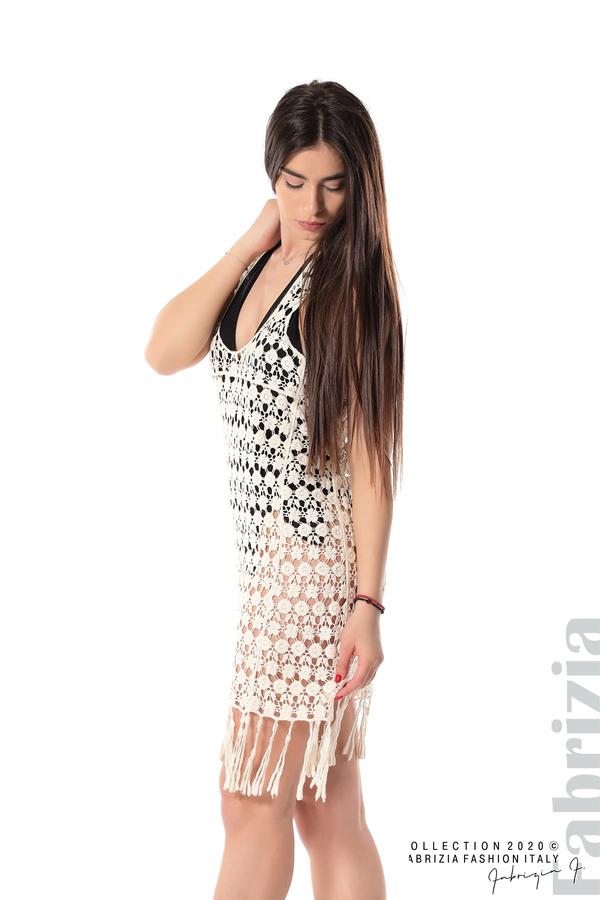Плетена плажна рокля с ресни екрю 3 fabrizia
