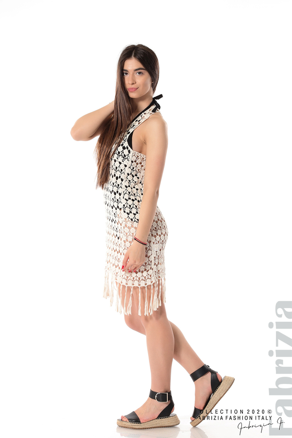 Плетена плажна рокля с ресни екрю 4 fabrizia