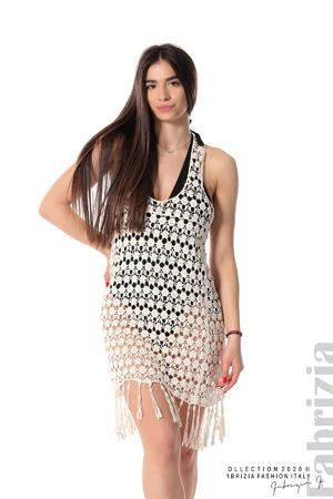 Плетена плажна рокля с ресни