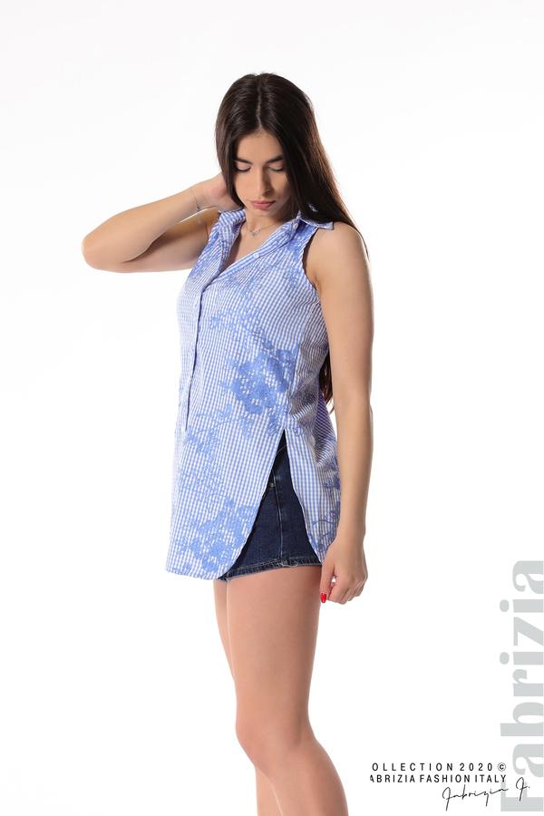 Карирана риза с бродирани цветя син 1 fabrizia