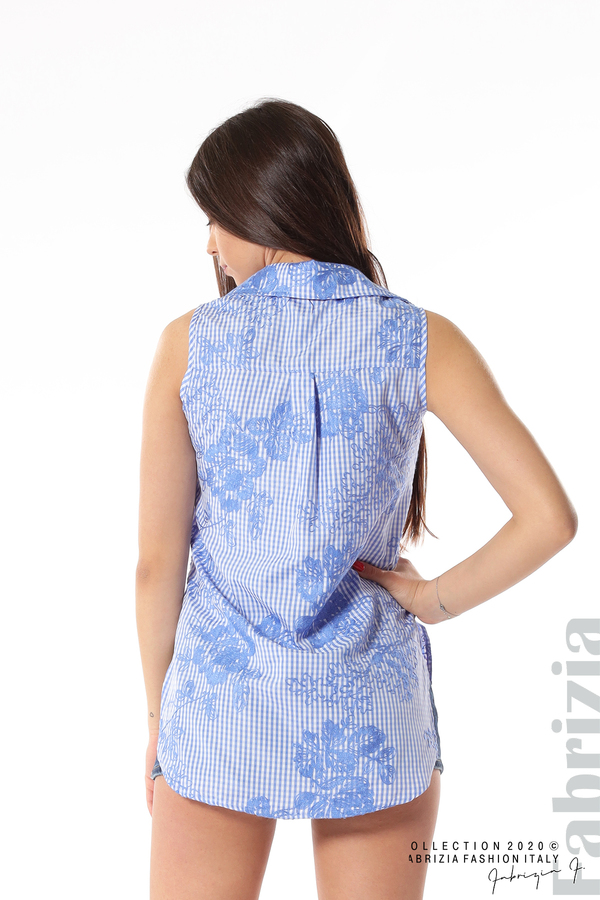 Карирана риза с бродирани цветя син 4 fabrizia