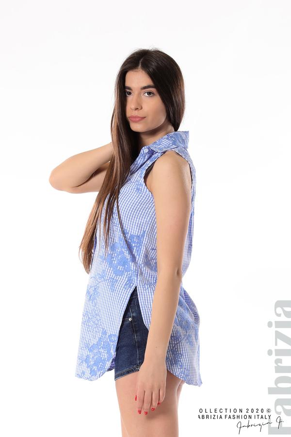 Карирана риза с бродирани цветя син 5 fabrizia