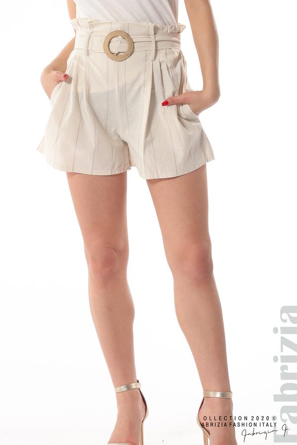 Къс панталон с колан екрю 3 fabrizia