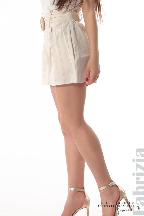 Къс панталон с колан екрю 4 fabrizia