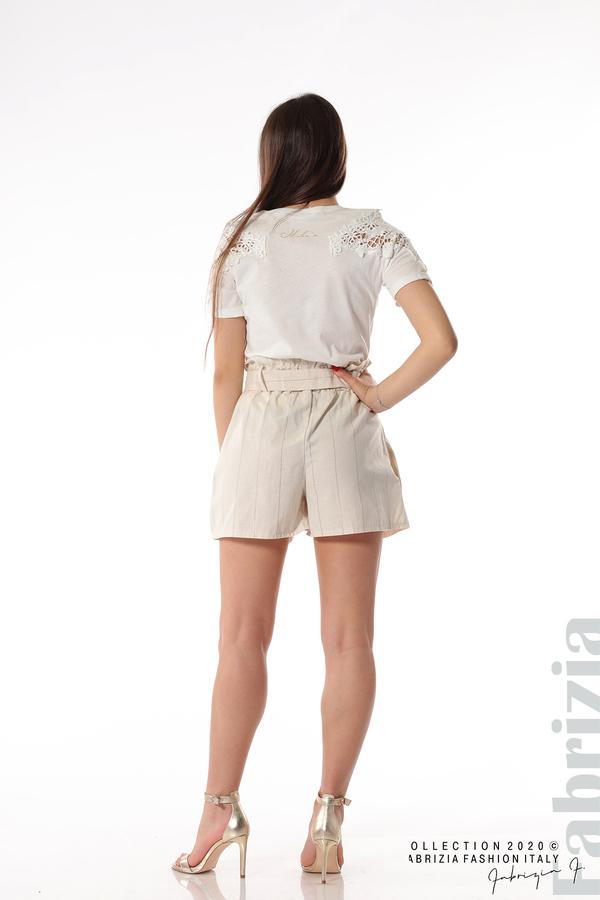 Къс панталон с колан екрю 5 fabrizia