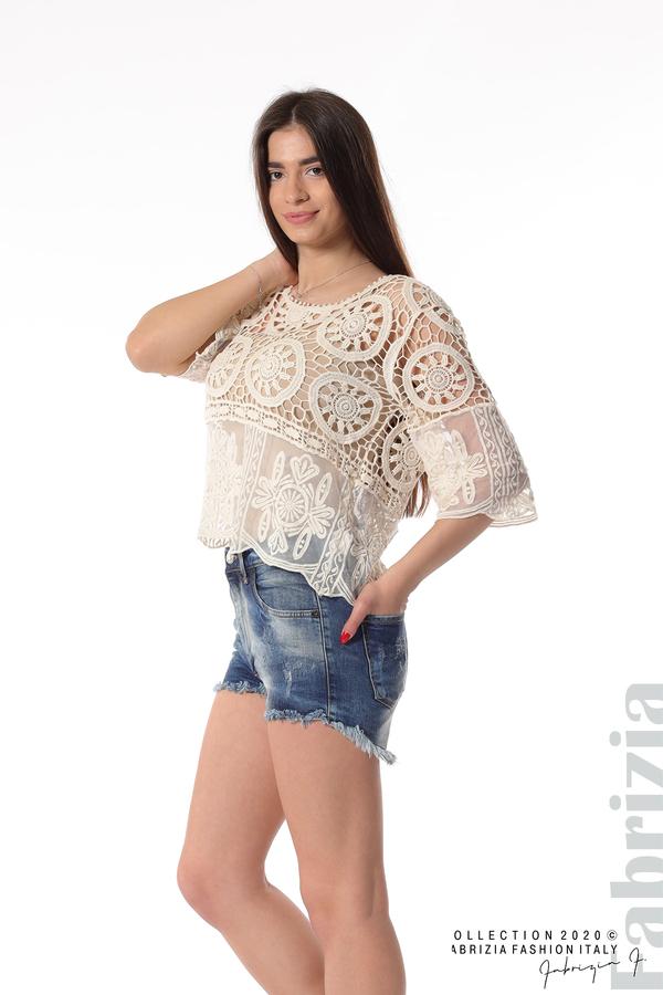 Ефектна плетена блуза екрю 4 fabrizia