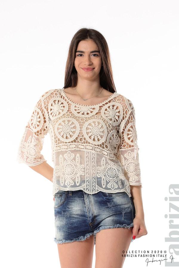 Ефектна плетена блуза екрю 1 fabrizia