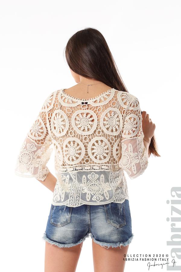 Ефектна плетена блуза екрю 5 fabrizia
