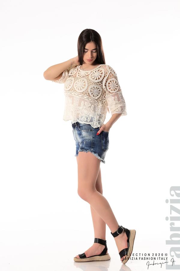 Ефектна плетена блуза екрю 3 fabrizia