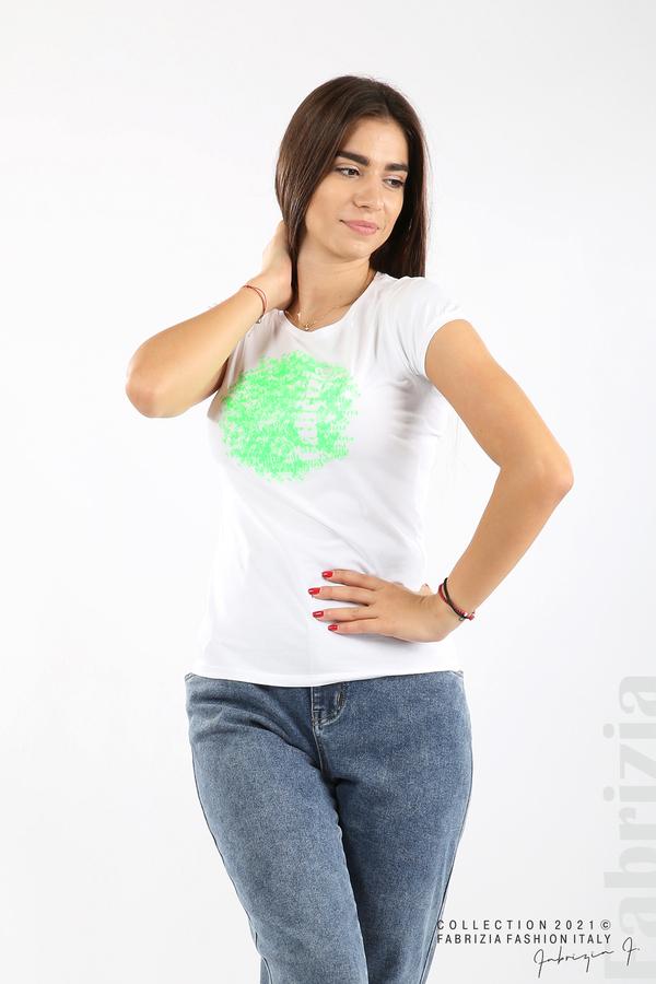 Дамска блуза Fabrizia бял/зелен 1 fabrizia