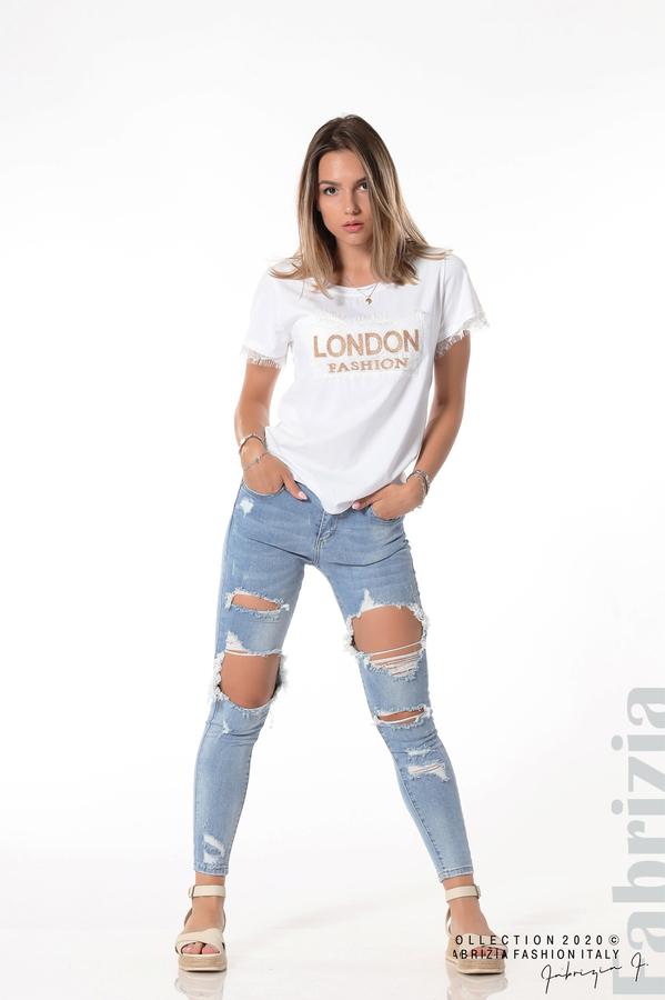 Блуза с дантела и надпис London бял 4 fabrizia