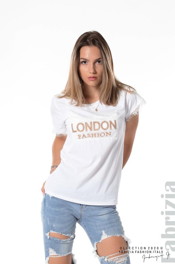 Блуза с дантела и надпис London бял 1 fabrizia