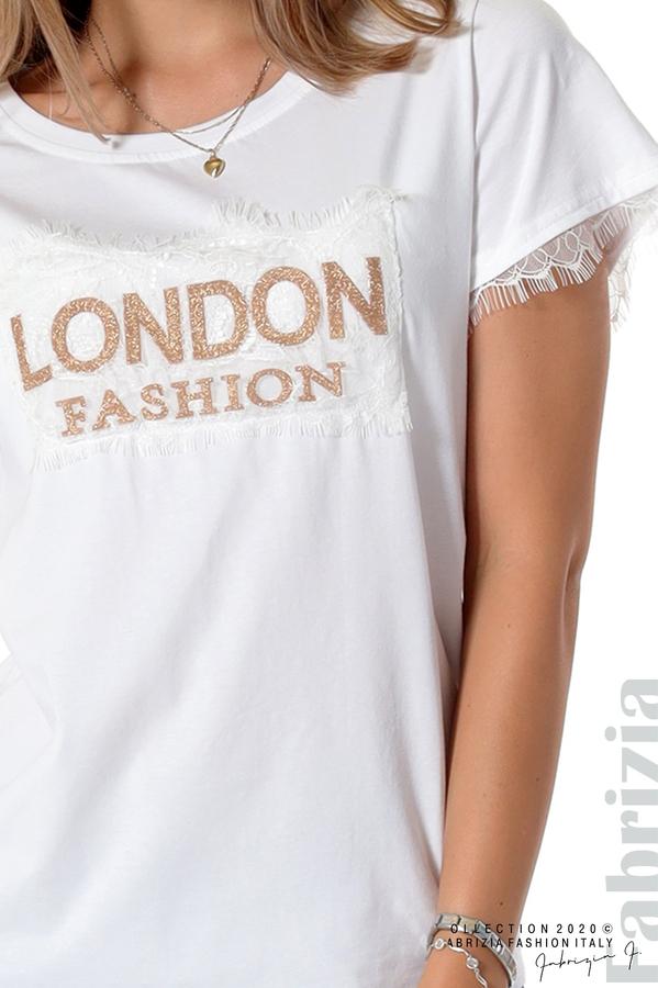 Блуза с дантела и надпис London бял 3 fabrizia