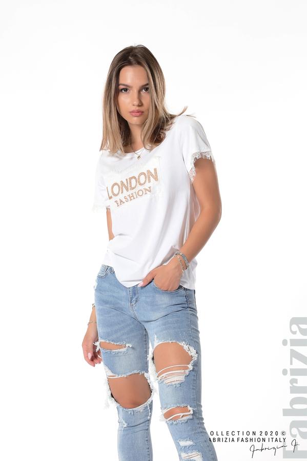 Блуза с дантела и надпис London бял 2 fabrizia